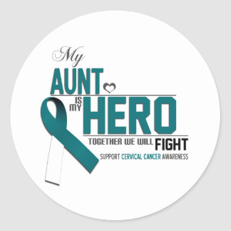Cervical Cancer Awareness: aunt Classic Round Sticker