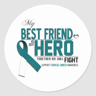 Cervical Cancer Awareness: best friend Classic Round Sticker