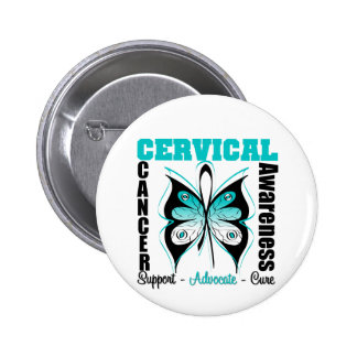 Cervical Cancer Awareness Butterfly Pinback Button