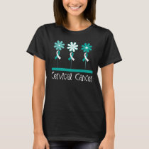 Cervical Cancer Awareness Flowered Womens T-shirt