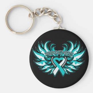Cervical Cancer Awareness Heart Wings.png Basic Round Button Keychain