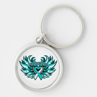Cervical Cancer Awareness Heart Wings.png Silver-Colored Round Keychain