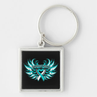Cervical Cancer Awareness Heart Wings.png Silver-Colored Square Keychain
