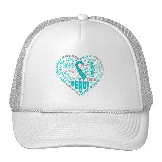 Cervical Cancer Awareness Heart Words Hat