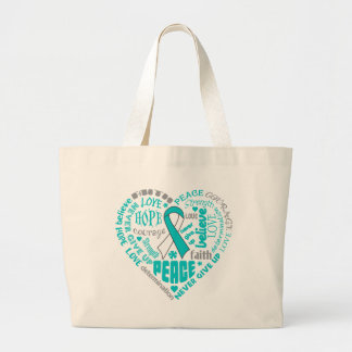 Cervical Cancer Awareness Heart Words Jumbo Tote Bag