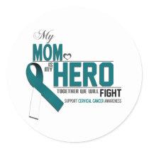 Cervical Cancer Awareness: mom Classic Round Sticker