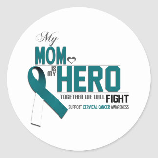 Cervical Cancer Awareness: mom Classic Round Sticker