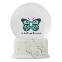 Cervical Cancer Awareness Ribbon and Butterfly Snow Globe
