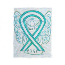 Cervical Cancer Awareness Ribbon Angel Blanket