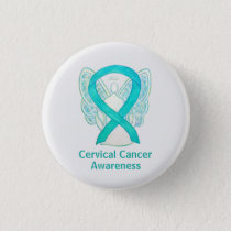 Cervical Cancer Awareness Ribbon Angel Button Pins