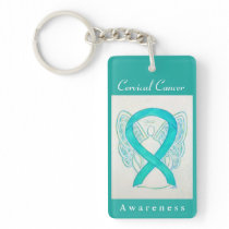 Cervical Cancer Awareness Ribbon Angel Keychain