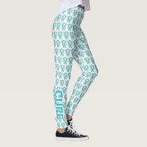 Cervical Cancer Awareness Ribbon Angel Leggings