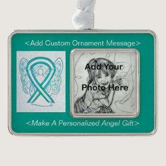 Cervical Cancer Awareness Ribbon Angel Ornament