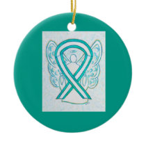Cervical Cancer Awareness Ribbon Angel Ornaments