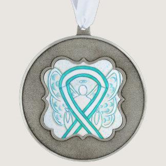 Cervical Cancer Awareness Ribbon Angel Ornaments Pewter Ornament