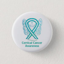 Cervical Cancer Awareness Ribbon Angel Pin Button