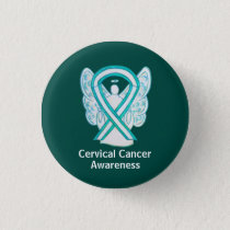 Cervical Cancer Awareness Ribbon Angel Pin Buttons