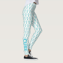 Cervical Cancer Awareness Ribbon Art Leggings