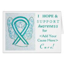 Cervical Cancer Awareness Ribbon Custom Note Cards