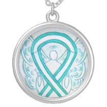 Cervical Cancer Awareness Ribbon Jewelry Necklace