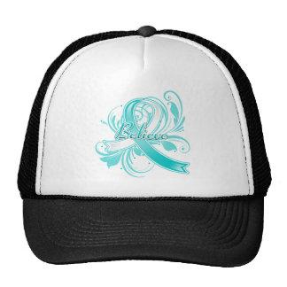 Cervical Cancer Believe Flourish Ribbon Trucker Hat