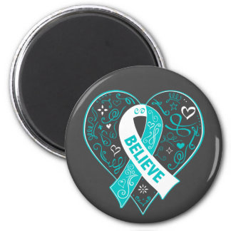 Cervical Cancer Believe Ribbon Heart 2 Inch Round Magnet