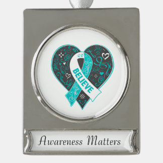 Cervical Cancer Believe Ribbon Heart Silver Plated Banner Ornament