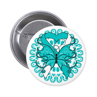 Cervical Cancer Butterfly Circle of Ribbons 2 Inch Round Button