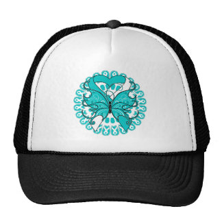 Cervical Cancer Butterfly Circle of Ribbons Mesh Hat