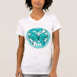 Cervical Cancer Butterfly Circle of Ribbons Tee Shirt