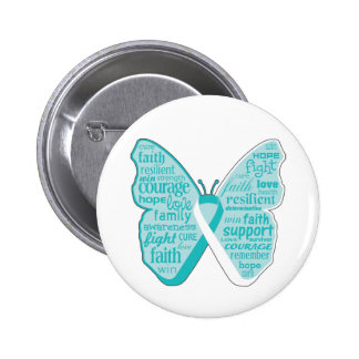 Cervical Cancer Butterfly Collage of Words Button