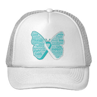Cervical Cancer Butterfly Collage of Words Hats
