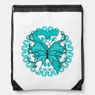 Cervical Cancer Butterfly Heart Ribbon Drawstring Backpack