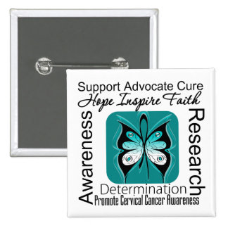 Cervical Cancer Butterfly Inspirations Pinback Buttons