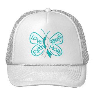 Cervical Cancer Butterfly Inspiring Words Trucker Hat