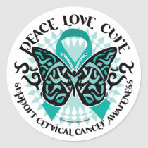 Cervical Cancer Butterfly Tribal 2 Classic Round Sticker