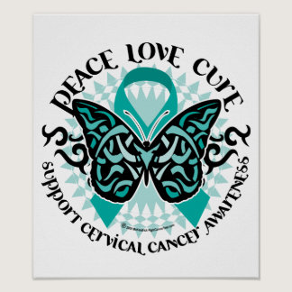 Cervical Cancer Butterfly Tribal 2 Poster