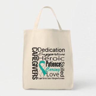 Cervical Cancer Caregivers Collage Grocery Tote Bag
