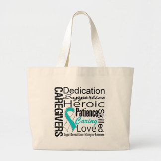 Cervical Cancer Caregivers Collage Jumbo Tote Bag