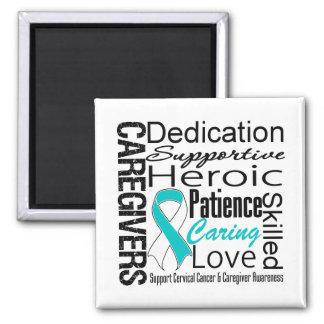 Cervical Cancer Caregivers Collage 2 Inch Square Magnet