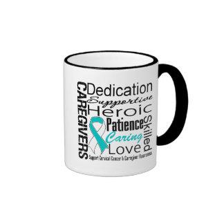 Cervical Cancer Caregivers Collage Ringer Coffee Mug