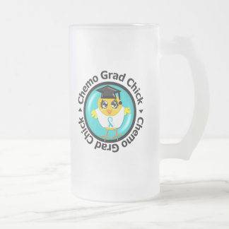 Cervical Cancer Chemo Grad Chick 16 Oz Frosted Glass Beer Mug