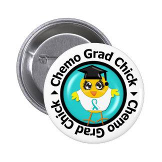Cervical Cancer Chemo Grad Chick 2 Inch Round Button