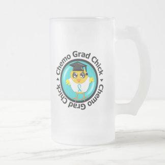 Cervical Cancer Chemo Grad Chick Frosted Glass Beer Mug