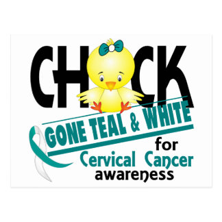Cervical Cancer Chick Gone Teal And White 2 Postcard