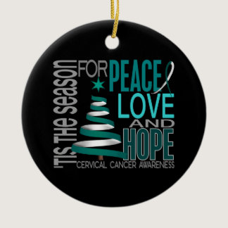 Cervical Cancer Christmas 1 Ornaments
