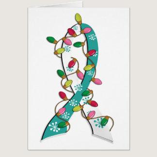 Cervical Cancer Christmas Lights Ribbon Card