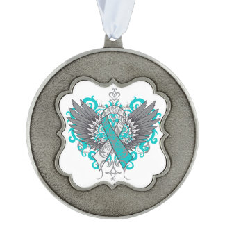 Cervical Cancer Cool Awareness Wings Scalloped Pewter Ornament