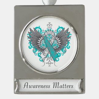 Cervical Cancer Cool Awareness Wings Silver Plated Banner Ornament