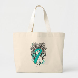 Cervical Cancer - Cool Support Awareness Slogan Jumbo Tote Bag